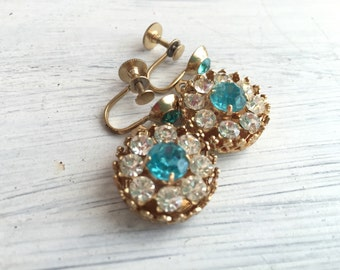 Something Blue No.94 - Vintage Screw Back Crystal and Rhinestone Earrings in Aqua Blue