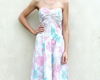 "SALE - Vintage floral strapless party dress . . . ""Like"" our fb page for 10% discount"