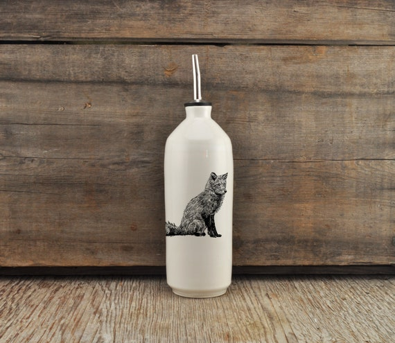 Handmade white glossy porcelain cruet with red fox drawing by Cindy Labrecque, Canadian Wildlife collection