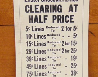 1960's Easter Chocolate Store Sign. Cardboard Advertising Sign