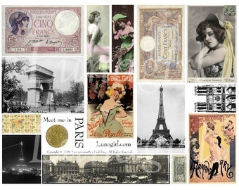 VINTAGE PARIS Ephemera digital collage sheet, vintage photos, Paris cabaret showgirls French postcards, antique money Eiffel Tower, DOWNLOAD