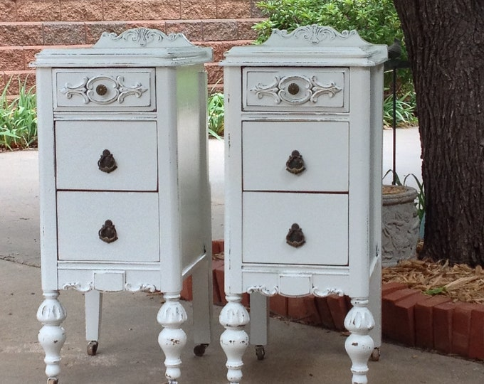 Pair of White Nightstands CUSTOM ORDER We Find - Refinish - And Paint - Antique Bedside Tables Shabby Chic French Country Farmhouse