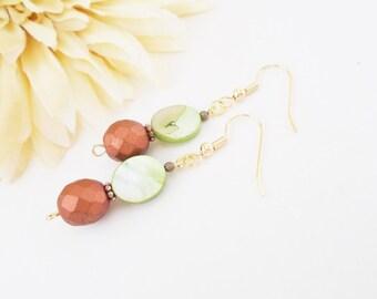 Green Copper Earrings, 7th Anniversary Gift for Wife, Mother of Pearl Jewelry, Boho Beaded Dangle Earrings Handmade, Olive Green Earrings