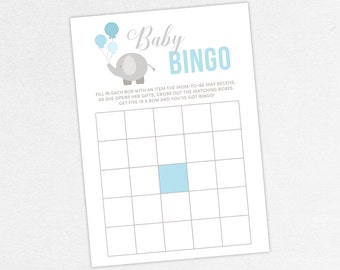 INSTANT DOWNLOAD Baby Bingo Card, Baby Shower Bingo, Baby Bingo PDF, Diy, Baby Shower Games, Elephant Bingo Card, Blue, Gray, Little Peanut
