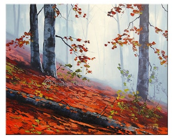 RED TREES PAINTING traditional autumn Painting Fall wall decor by Graham gercken