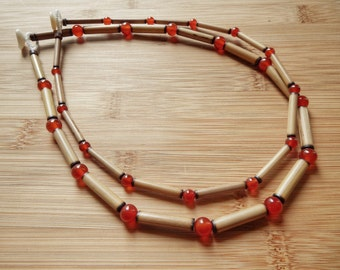 Kauai Bamboo Jewelry - Hawaiian Bamboo and Carnelian Necklace