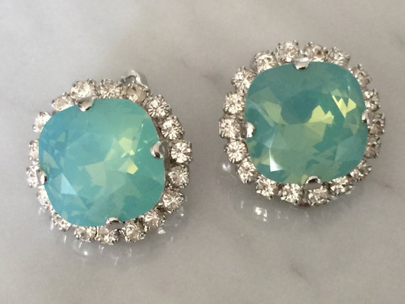 Pacific Opal & Clear Crystal Halo Clip On Earrings, Silver