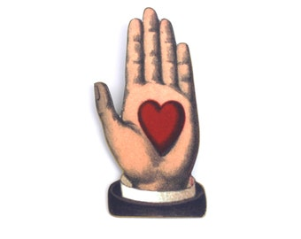 Heart in Hand Brooch - Heart Brooch - Heart Jewelry - Hand Jewelry - Hand Brooch - Friendship Jewelry - Friendship - Ancient Symbol - Friend