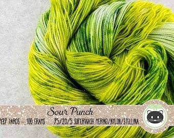 Green Yellow Variegated Hand Dyed Yarn, Sock Yarn, Merino Wool Yarn, Fingering Yarn, Sparkle Yarn, Speckled Yarn,Glittering Luxe, Sour Punch