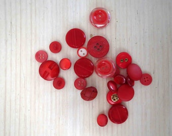 Assorted Red Buttons x 24