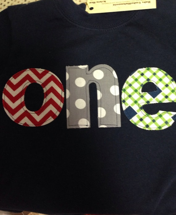 Boys 1st birthday shirt, One First Birthday Shirt, first Birthday shirt, red chevron gray dots navy blue and green pattern, birthday