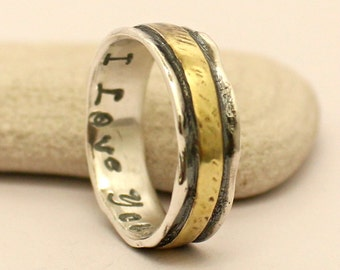 Personalized Wedding Band / Ring - Sterling Silver and Brass Ring. Hammered - Handmade Ring - Sterling Silver and Brass Band.. Custom Ring