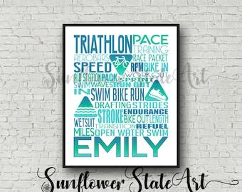 Personalized Triathlon Poster Typography, Triathlon Gift, Triathlon, Custom Triathlon Gift for Triathlon, Gift for Triathlete, Swim Bike Run