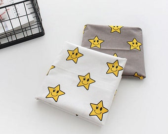Smile Stars Cotton Fabric, White or Cocoa Gray - Fabric By the Yard 93029