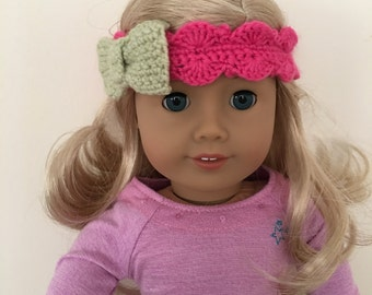 "18"" doll headband will fit dolls such as American Girl. Pink with green bow."