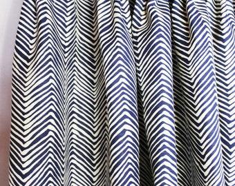 Quadrille Alan Campbell Petite Zig Zag Custom Drapes - (Shown in Navy on Tint with Fan Pleating-comes in 14 colors)