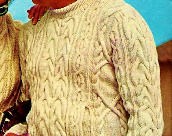 Men's Fisherman Cable Sweater Vintage Knitting Pattern Instant Download