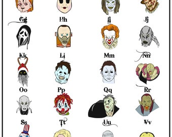ABC Atrocities  - Alphabet Chart - Horror Themed