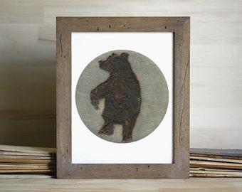 Grizzy Bear Silhouette Print, bear wall art 11 x 14 inches