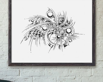 Abstract illustration ink. Printable Wall Art. Abstract Art. Pen and Ink Drawing. Black and White. Instant Digital Download