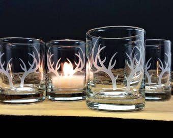 Antler Engraved Glass Candle Holders Set of Four Clear Votive Holders