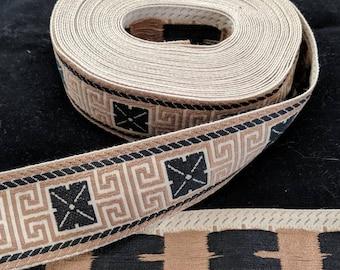 Woven Black and Brown Trim - Greek Key Design - SCA Garb