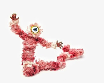 Pink Cycloptic Crawler - Bendable Copper Wire Creature - fun, unique, fully poseable! Hand-made out of recycled & repurposed materials.