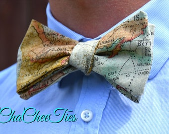 Map Bow Tie. Mens Bow Tie. Old Fashioned Map Bow Tie. Self tie. Geography Bow Tie World. Map Bow Tie. Map Pocket Square. Travel Gift. Pre