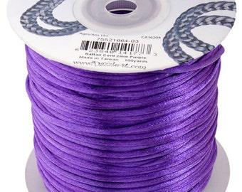 Purple Satin 2 mm Rattail Cord - 100 yd - 300 Ft - Full Spool - Kumihimo Cording