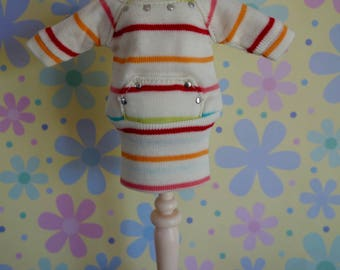 Rainbow Stripe Sweatshirt Pocket Dress * Blythe * Pullip *