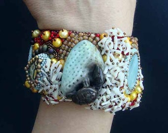 "FREE SHIPPING Bead Embroidery Cuff   ""Turtle""  Bracelet"