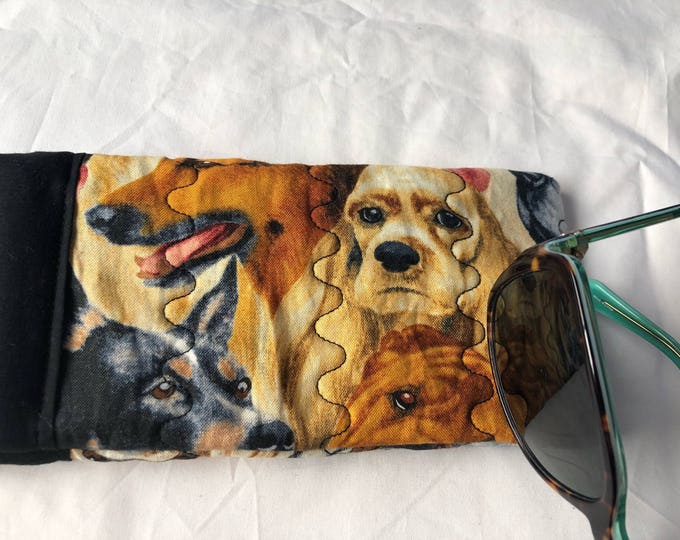 Padded soft sided glasses case, Quilted fabric easy open close sunglasses case, Dog Cushioned eyeglass case, Pinch open close sunglass case