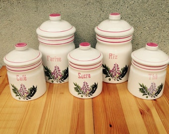 Kitchen Canisters, Canisters, Canister Set, Storage Canisters, French Vintage, Kitchen Storage, Retro Canisters, Pink Kitchen Decor