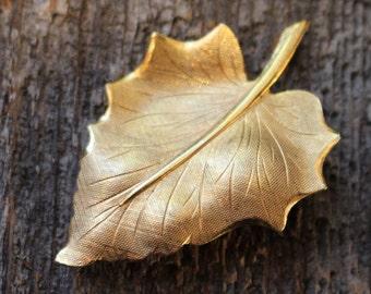 Vintage Gold Tone Etched Leaf Brooch