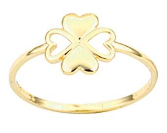 Four Leaf Clover 14k Solid Gold Ring