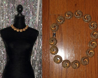 90's Gold Plated Decorative Swirl Chunky Necklace *Excellent Condition