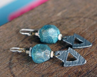 Handmade Unique Earrings with Faceted Rustic Polymer Clay Beads and Pewter Dagger Pendants