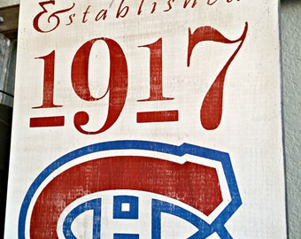 2 SIZES Montreal Canadiens Hockey - Original 6 - Distressed wood sign