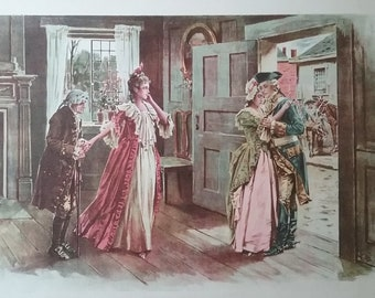 Vintage Lithograph Print For Love and The Colonies  Copyright 1890 by Truth Co.