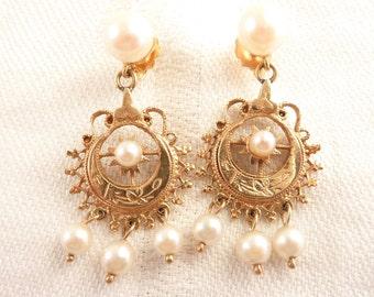 Vintage Ornate Openwork 14K Gold and Pearl Chandelier Post Earrings