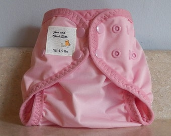 Preemie Newborn PUL Diaper Cover with Leg Gussets- 4 to 9 pounds- Baby Pink- 20021