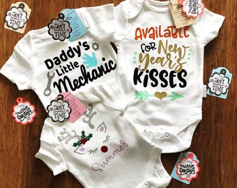 Personalised Christmas/New Year Baby Romper for Baby's First Holidays Seasons
