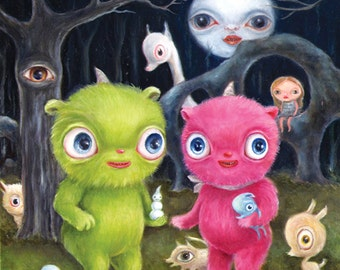 Cute Monster Art, Friendship, Pop Surrealism, Lowbrow Art, Big Eye, Children's Decor, Whimsical Painting, Illustration Art, Full Moon Art