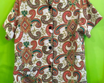 40s Cold Rayon Asian Inspired Pajama Top Betsy Ellen/Max Gussow ML