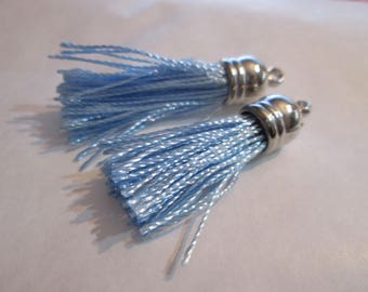 2 PomPoms, tassels in light blue silk tassel