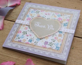 Thank You Card - Country Garden Vintage Scrapbook Style Lilac