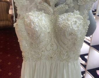 wedding dress boho  , chiffon  wedding dress Campbell, beach wedding dress