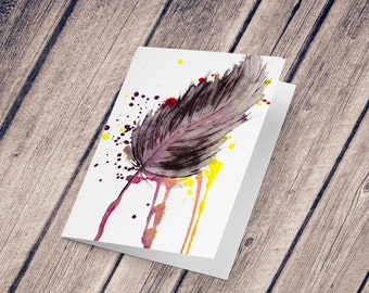 Wish card: Illustration reproduction painted in ink and watercolor, Feather