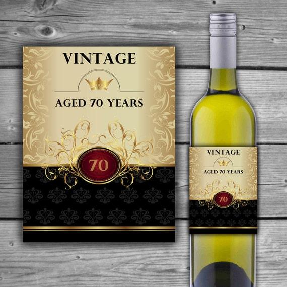 Printable Wine Bottle Labels: 70th Birthday Wine Label PRINTABLE 70TH Anniversary Wine