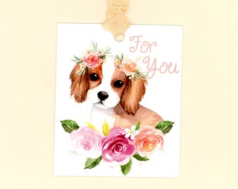 Dog Gift Tags, For You Tags, Watercolor Brown and White Dog, Dog and Roses, Dog with Flowers in Hair, Peach and Pink Tags, Birthday Tags